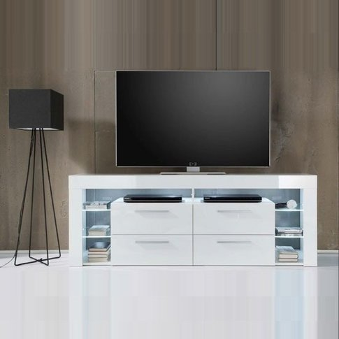 Sorrento High Lcd Tv Stand In White Gloss With White...