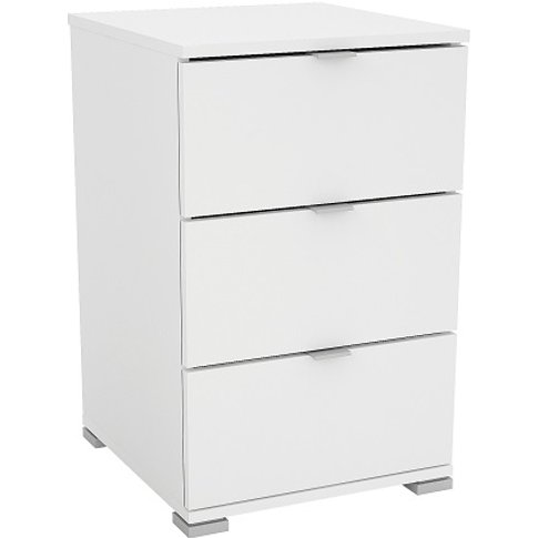 Scott Wooden Bedside Cabinet In Matt White With 3 Dr...