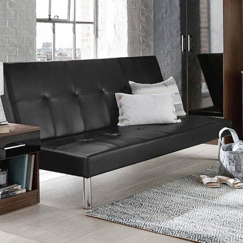 Seattle Faux Leather Sofa Bed In Black