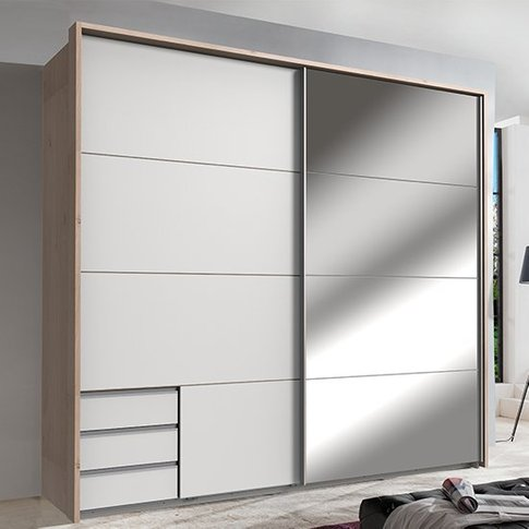 Seattle Sliding Door Mirrored Wardrobe In White And Hickory Oak