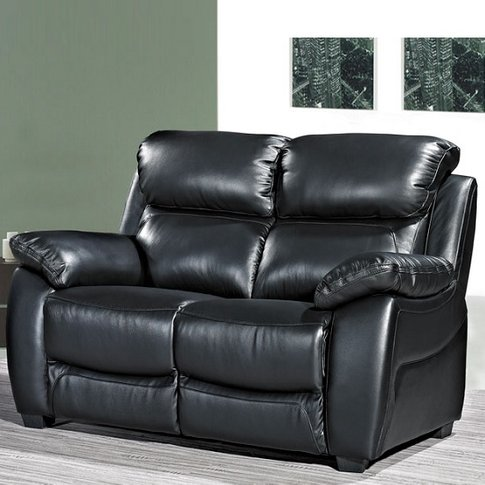 Selene Contemporary 2 Seater Sofa In Black Faux Leather