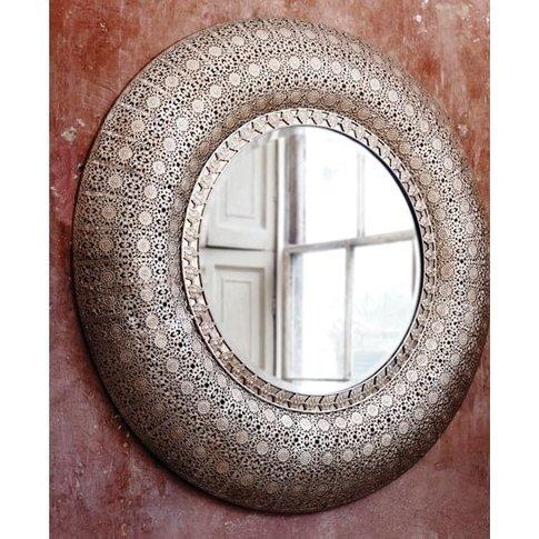 Selene Wall Mirror Round In Silver Metal With Lattic...