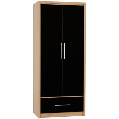 Seville Wardrobe In Black High Gloss With 2 Doors 1 ...