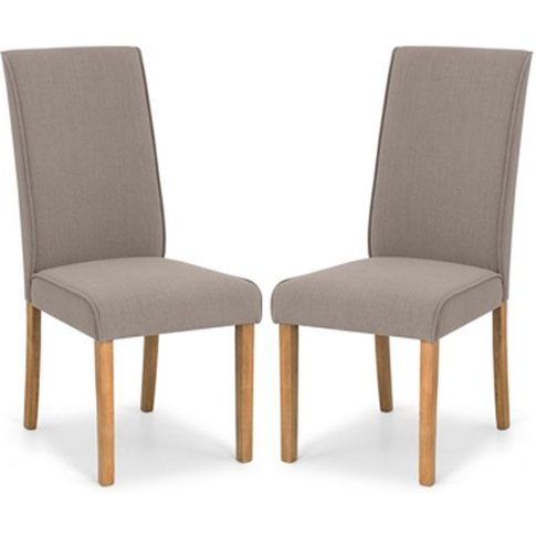Seville Taupe Linen Fabric Dining Chair In Pair