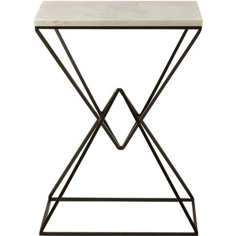 Piautos Rectangular Side Table With Marble Top