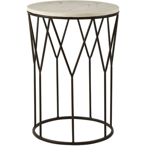 Piautos Side Table With Black Finish Base