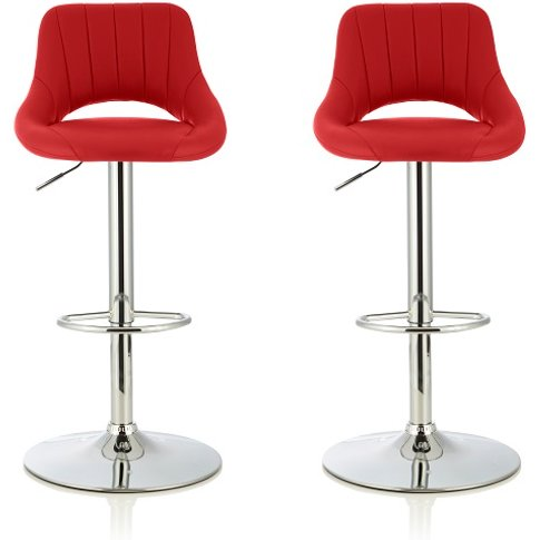 Shello Bar Stool In Red Faux Leather With Chrome Bas...
