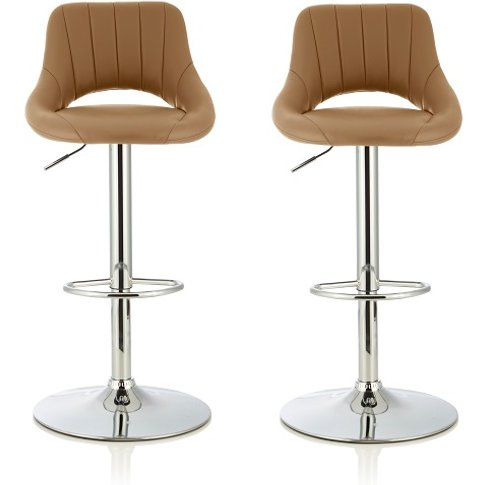 Shello Bar Stool In Taupe Faux Leather And Chrome Ba...