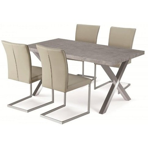 Shiro Dining Table Set In Stone Effect With 4 Beige ...
