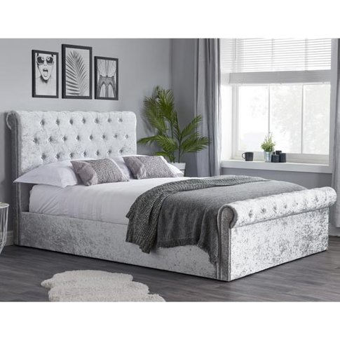 Sienna Side Fabric Double Bed In Steel Crushed Velvet