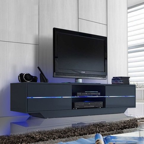 Sienna Tv Stand In Grey High Gloss With Multi Led Li...