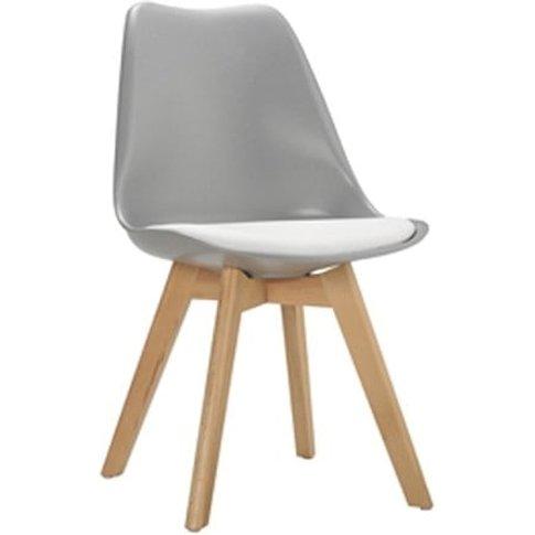 Sigmon Dining Chair In Matt Grey With White Pu Seat