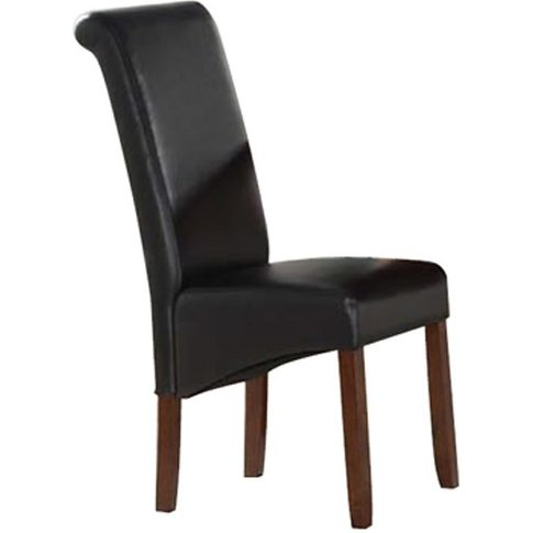 Sika Black Leather Dining Chair With Acacia Legs