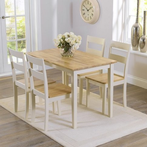 Broman Dining Table In Oak And Cream With 4 Dining C...
