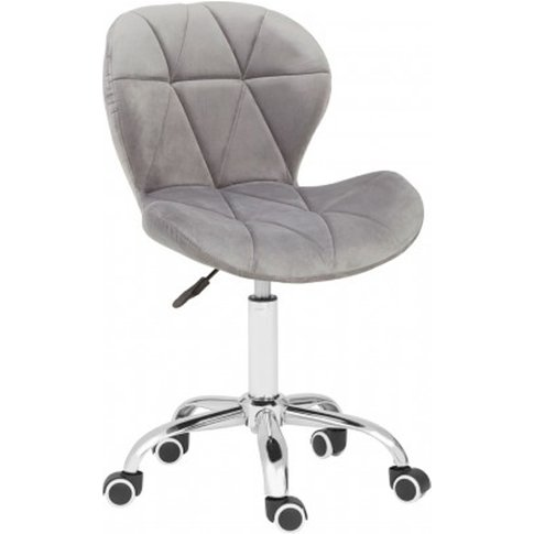 Sitoca Velvet Home And Office Chair In Grey With Swi...