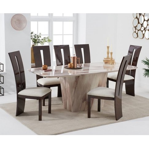 Snyder Marble Dining Table In Brown With Six Ophelia...