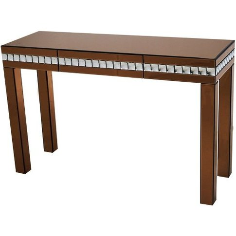 Solano Modern Glass Console Table In Bronze With Drawer