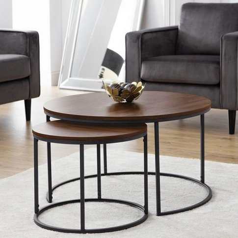 Solero Set Of Coffee Tables Round In Walnut With Met...