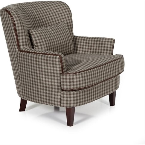 Sonder Fabric Lounge Chair In Brown With Wooden Legs