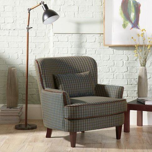 Sonder Fabric Lounge Chair In Green With Wooden Legs