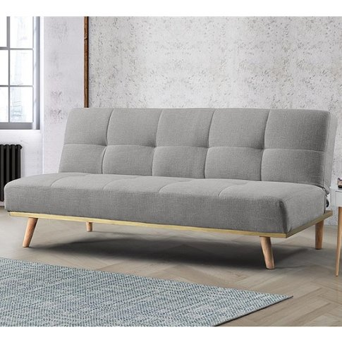 Soren Fabric Sofa Bed In Light Stone Grey With Woode...
