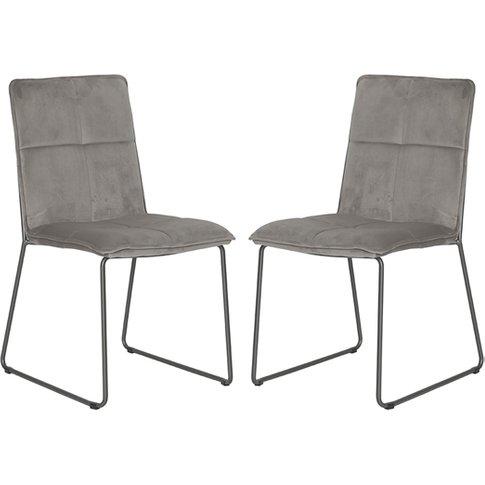 Soren Mink Velvet Dining Chairs With Black Legs In Pair