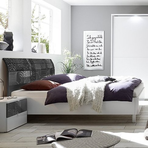 Soxa Curved Wooden King Size Bed In Serigraphed Grey