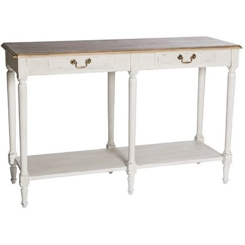 Spencer Wooden Console Table Large In White With 2 D...