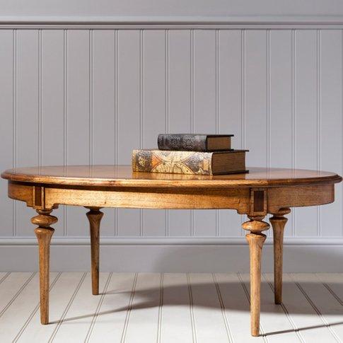 Spire Wooden Oval Coffee Table In Walnut