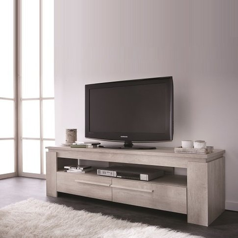 Portland Wooden Tv Stand In Champagne Oak With 2 Dra...