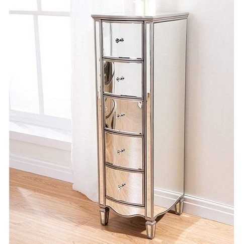Stafford Mirrored Chest Of Drawers Tall With 5 Drawers