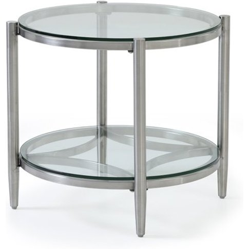Stanmore Glass Lamp Table With Brushed Stainless Ste...