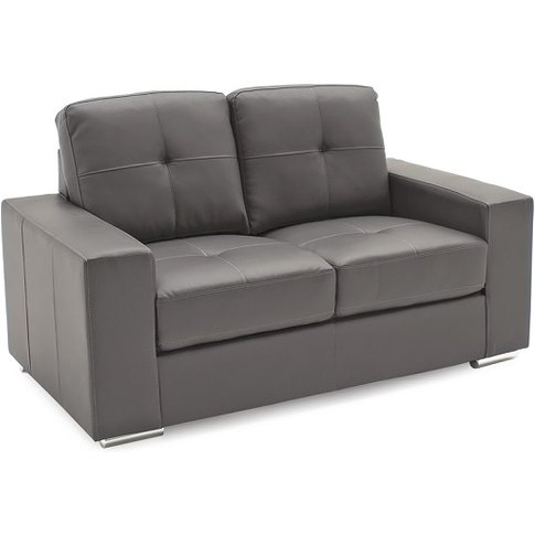 Stavern 2 Seater Sofa In Grey Bonded Leather With Ch...