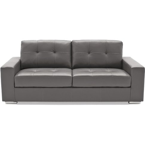 Stavern 3 Seater Sofa In Grey Bonded Leather With Ch...