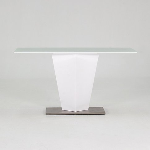 Stella Console Table In Frosted Glass And White Glos...
