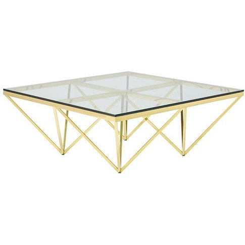 Stirling Glass Coffee Table Square In Gold Finish Frame