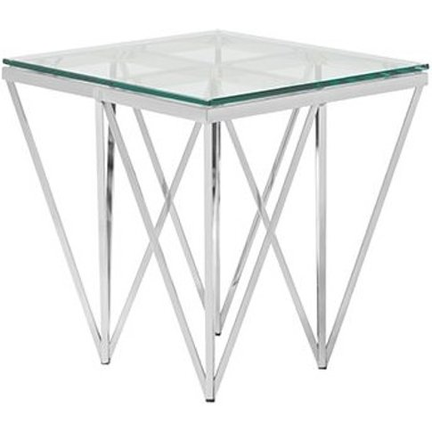 Stirling Glass Lamp Table Square In Silver Finish Frame