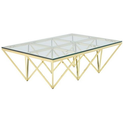 Stirling Glass Coffee Table Rectangular In Gold Fini...