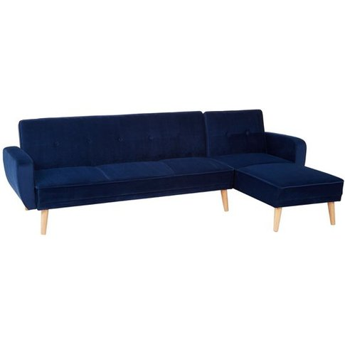Porrima 3 Seater Fabric Sofa Bed In Navy Blue