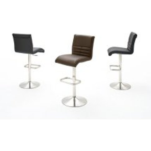 Timo Bar Stool In Faux Leather With Chrome Base