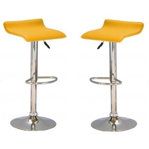Stratos Bar Stool In Yellow Pvc And Chrome Base In A...