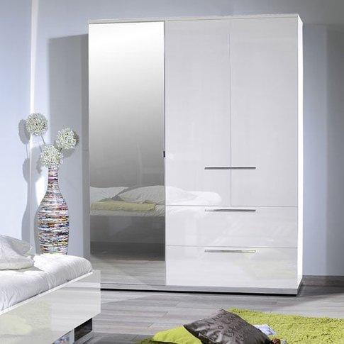Sinatra White High Gloss Finish 3 Door Wardrobe With...