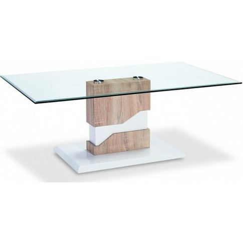 Susan Glass Coffee Table With Natural And White High...