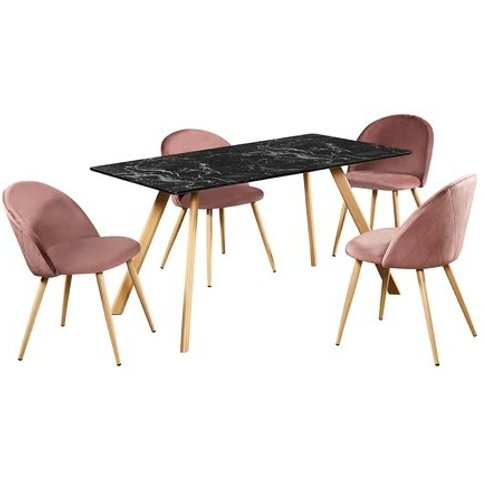 Swart Dining Table In Black Marble Effect With Pink ...