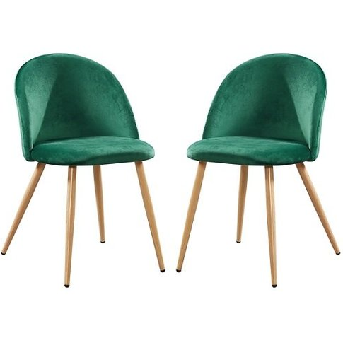Swart Velvet Dining Chairs In Green With Oak Legs In...