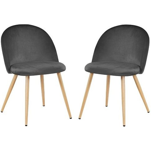 Swart Velvet Dining Chairs In Grey With Oak Legs In ...