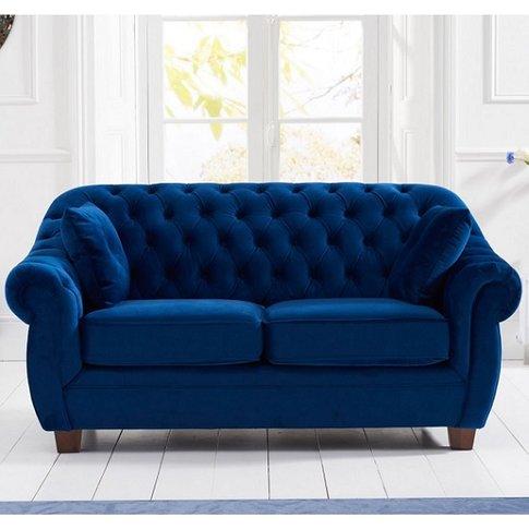 Sylvan Chesterfield Fabric 2 Seater Sofa In Blue Plush