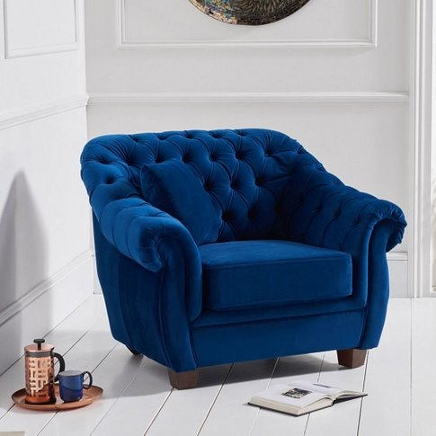 Sylvan Chesterfield Fabric Sofa Chair In Blue Plush