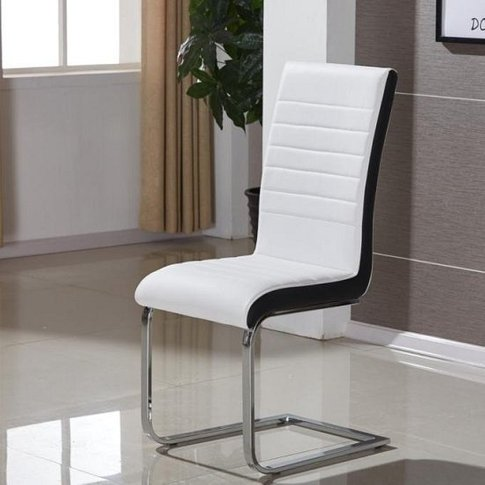Symphony Dining Chair In White And Black Pu With Chr...