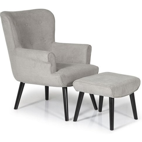 Tanwen Fabric Lounge Chair In Grey With Wooden Legs